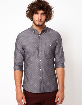 Image 1 ofASOS Denim Shirt With Polka Dots
