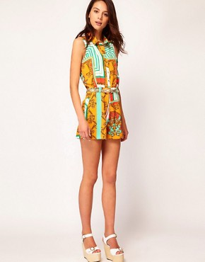 Image 4 ofRiver Island Scarf Mix Playsuit
