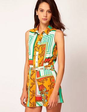 Image 1 ofRiver Island Scarf Mix Playsuit
