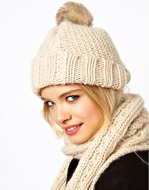 Image 1 ofASOS Fur Pom Beanie