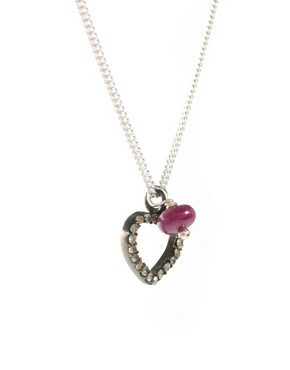 Image 4 ofSam Ubhi Sterling Silver Diamond Encrusted Necklace with Ruby Bead