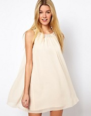 Darling Babydoll Dress with Pearl Neckline