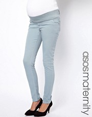 ASOS Maternity Elgin Jeans With Stretch Waistband in Pastel Blue