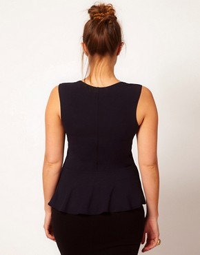 Image 2 ofASOS CURVE Exclusive Peplum Top With Jewel Embellishment