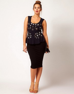 Image 4 ofASOS CURVE Exclusive Peplum Top With Jewel Embellishment
