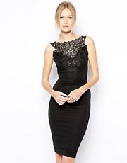Shop Club L online and buy Club L Bodycon Midi Dress with Crochet Trim