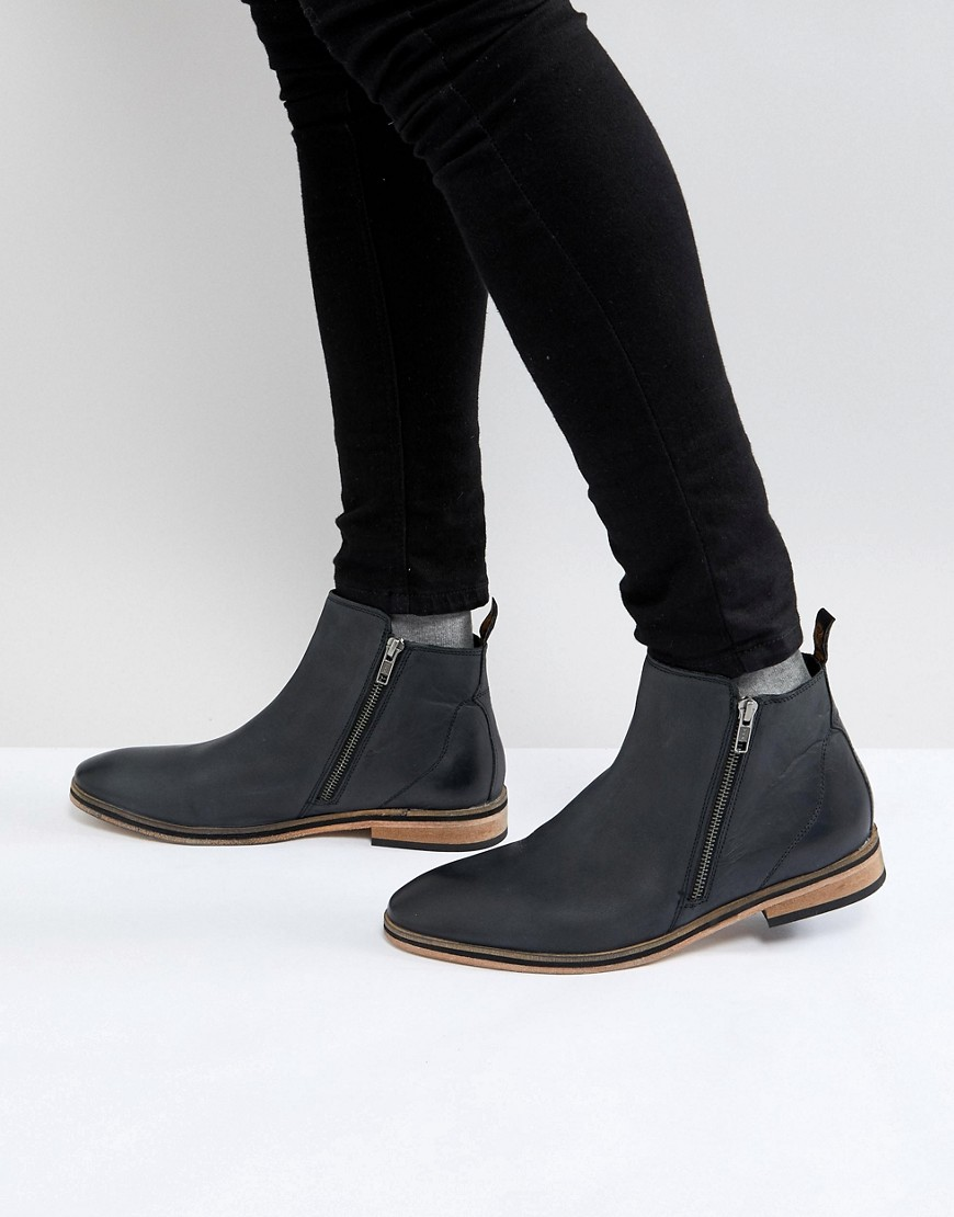 Superdry Chelsea Boot With Side Zip in Black Carbon black