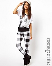 ASOS PETITE Exclusive Check Sweatpants With Foldover Waistband