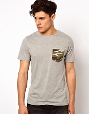 Another Influence T-Shirt Camo Pocket