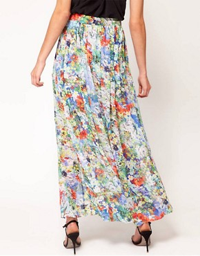 Image 2 ofFull Circle Floral Print Maxi Skirt