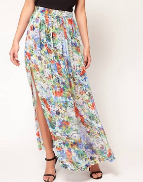 Image 4 ofFull Circle Floral Print Maxi Skirt