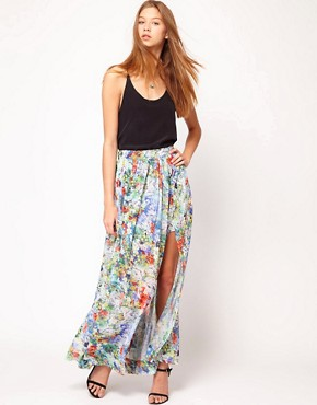 Image 1 ofFull Circle Floral Print Maxi Skirt