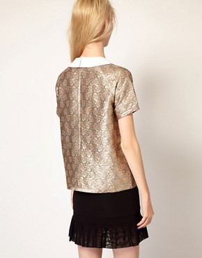 Image 2 of Paul and Joe Sister Shell Top in Metallic Jacquard Collar