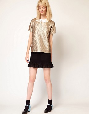 Image 4 of Paul and Joe Sister Shell Top in Metallic Jacquard Collar
