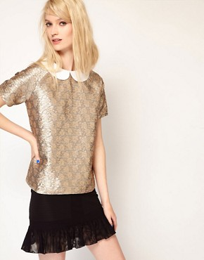 Image 1 of Paul and Joe Sister Shell Top in Metallic Jacquard Collar