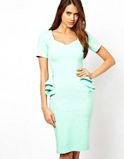 Hybrid Pencil Dress With Frill Peplum