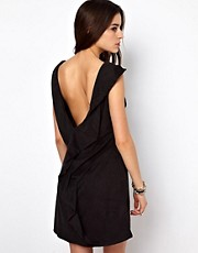 Religion Suede Look Dress With Drape Back
