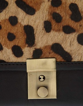 Image 3 ofASOS Leather Leopard Print Pony Skin Purse