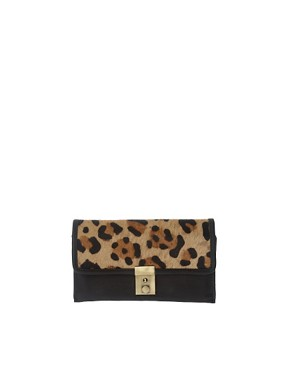 Image 1 ofASOS Leather Leopard Print Pony Skin Purse