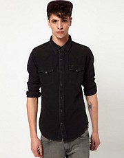 Lee Shirt Slim Fit Denim Western Washed Black