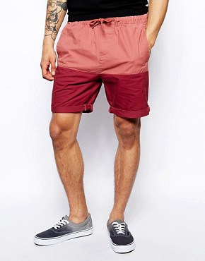 ASOS Chino Shorts With Contrast Panel In Mid Length