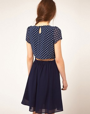 Image 2 ofDahlia Double Layer Spot Dress With Pleated Skirt
