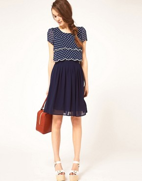 Image 4 ofDahlia Double Layer Spot Dress With Pleated Skirt
