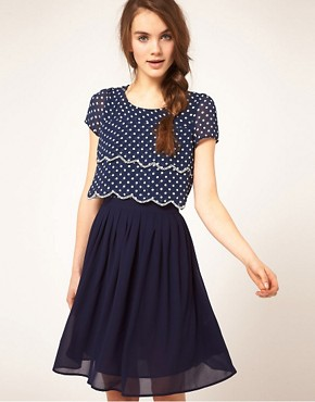 Image 1 ofDahlia Double Layer Spot Dress With Pleated Skirt