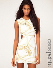 ASOS PETITE Exclusive Dress In Chain Print With Cut Out