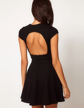 Image 2 ofASOS PETITE Exclusive Skater Dress With Keyhole Cut Out
