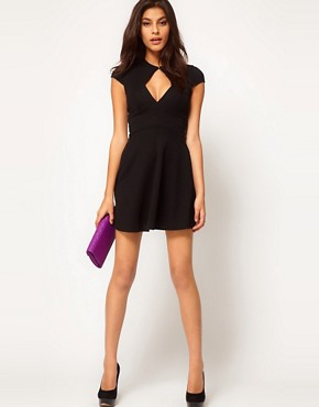 Image 4 ofASOS PETITE Exclusive Skater Dress With Keyhole Cut Out