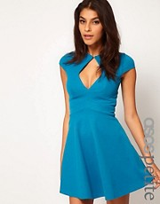 ASOS PETITE Exclusive Skater Dress With Keyhole Cut Out