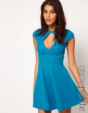 Image 1 ofASOS PETITE Exclusive Skater Dress With Keyhole Cut Out
