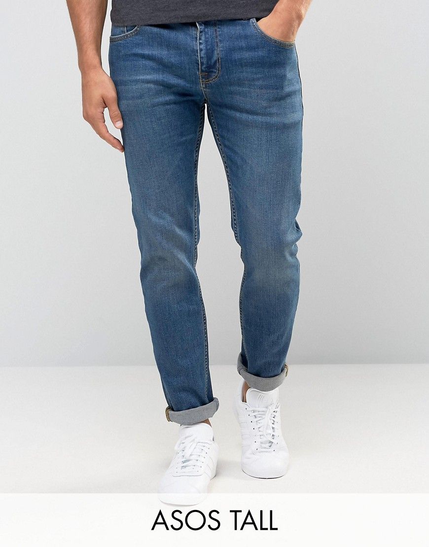 ASOS TALL Stretch Slim Jeans In Mid Wash - Blue