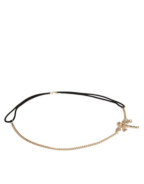 Image 2 ofRiver Island Diamante Dragonfly Stretch Head Band