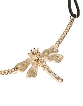 Image 3 ofRiver Island Diamante Dragonfly Stretch Head Band