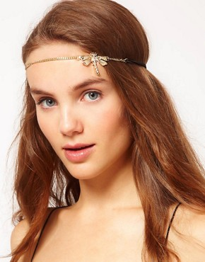 Image 1 ofRiver Island Diamante Dragonfly Stretch Head Band