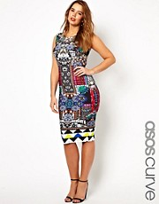 ASOS CURVE Body-Conscious Dress In Jewel Print
