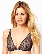 Calvin Klein Naked Glamour Lace Plunge Bra With Cookies