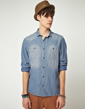 Image 1 ofASOS Mini Jacquard Denim Shirt