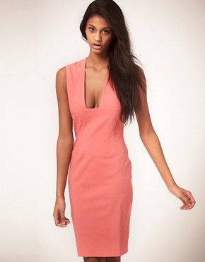 Image 1 ofHybrid Dress Pencil with Plunge Neckline
