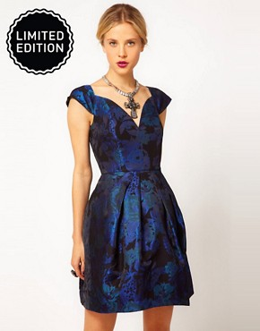 Image 1 of ASOS Tulip Dress in Jacquard