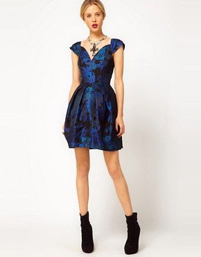 Image 4 ofASOS Tulip Dress in Jacquard