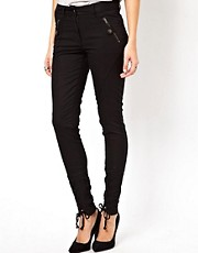 ASOS Skinny Pants with Lace Up Detail and Zips
