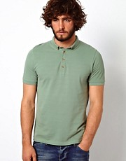 ASOS Polo In Pique Jersey With Button Down Collar