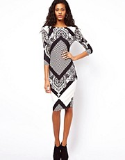 ASOS Midi Dress with Geo Scarf Print