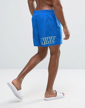 Nike Swim Shorts With Back Logo Print In Blue