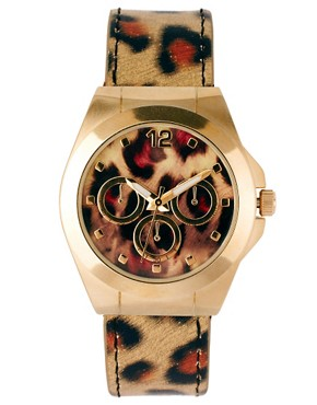 Image 1 ofASOS Leopard Print Boyfriend Watch