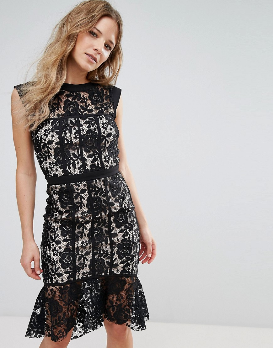 Paper Dolls Lace Peplum Hem Dress - Black