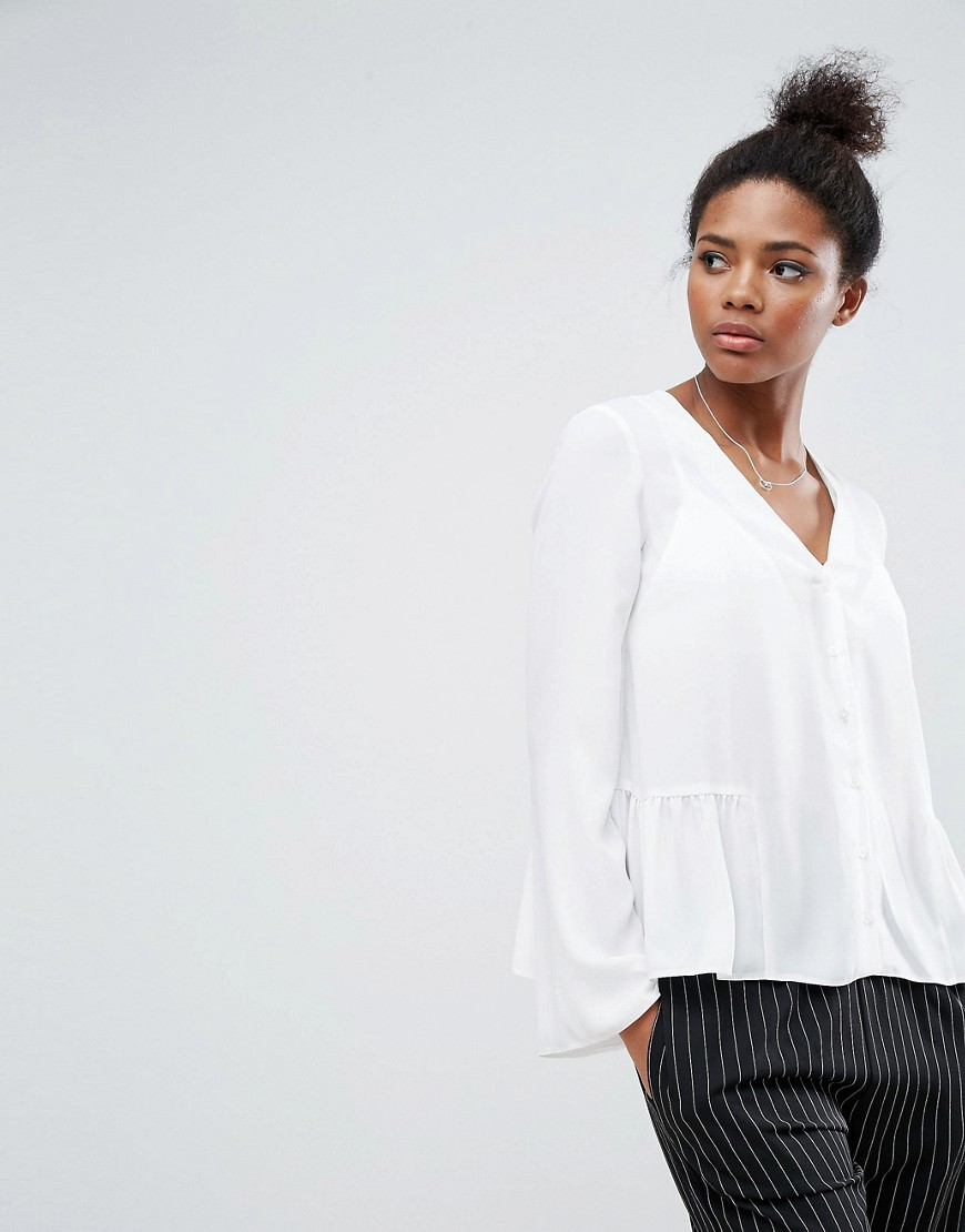 ASOS V Neck Blouse with Ruffle Hem - Ivory